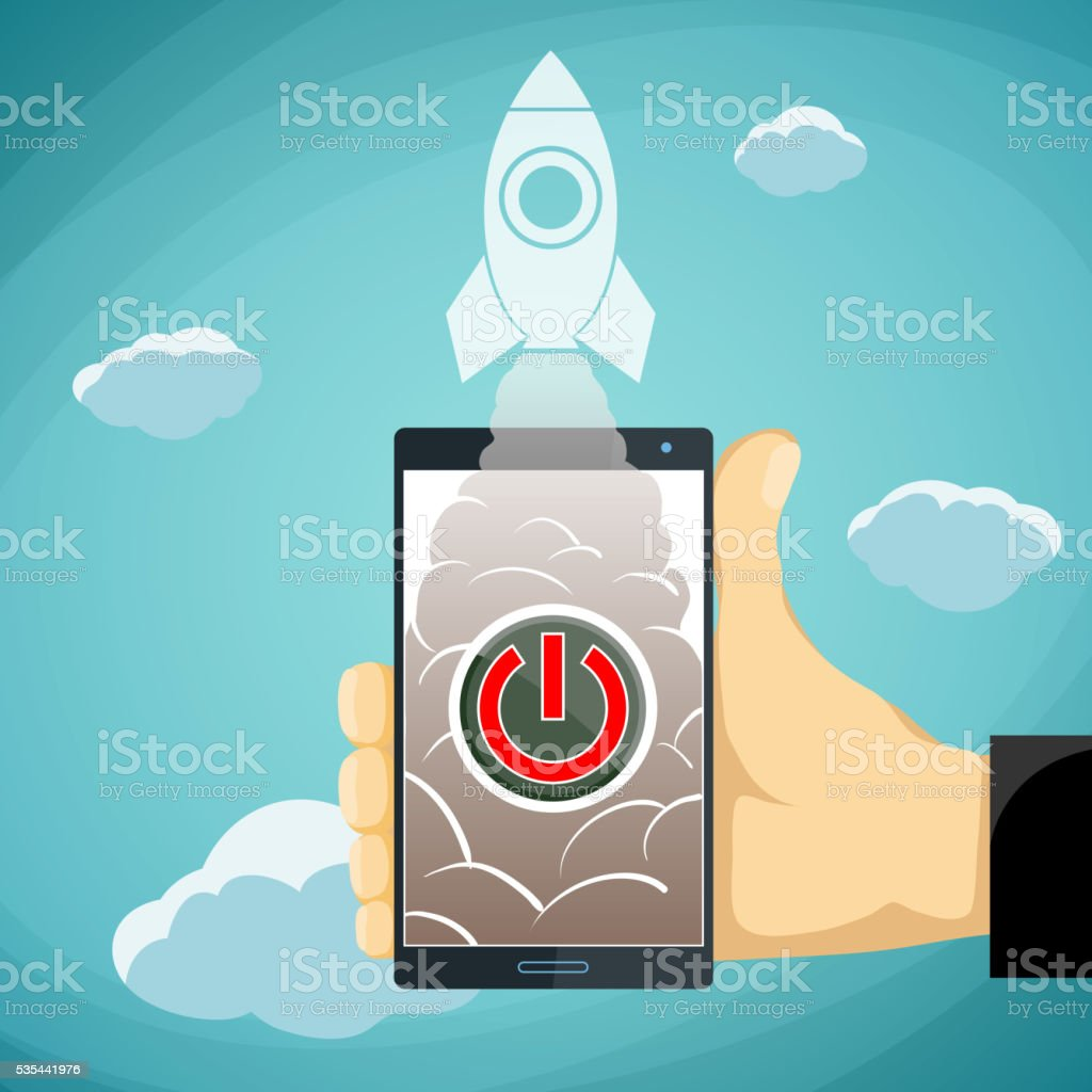 Human hand holding a smartphone vector art illustration
