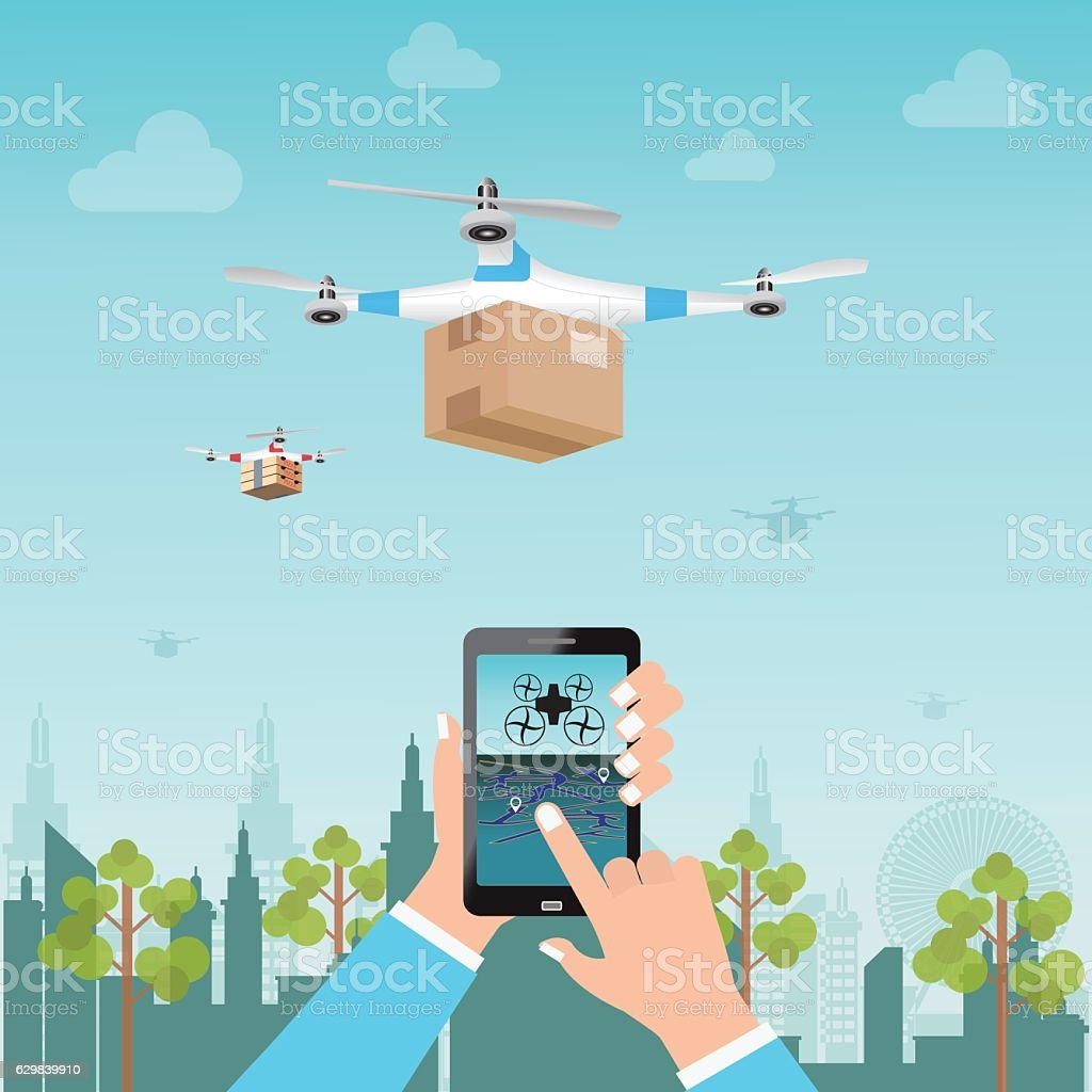 Human hand holding and operating remotely controlled for Delivery Drone. vector art illustration