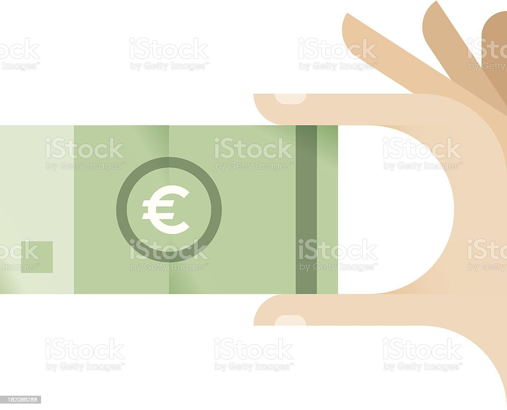 Human hand holding Euro banknote royalty-free stock vector art