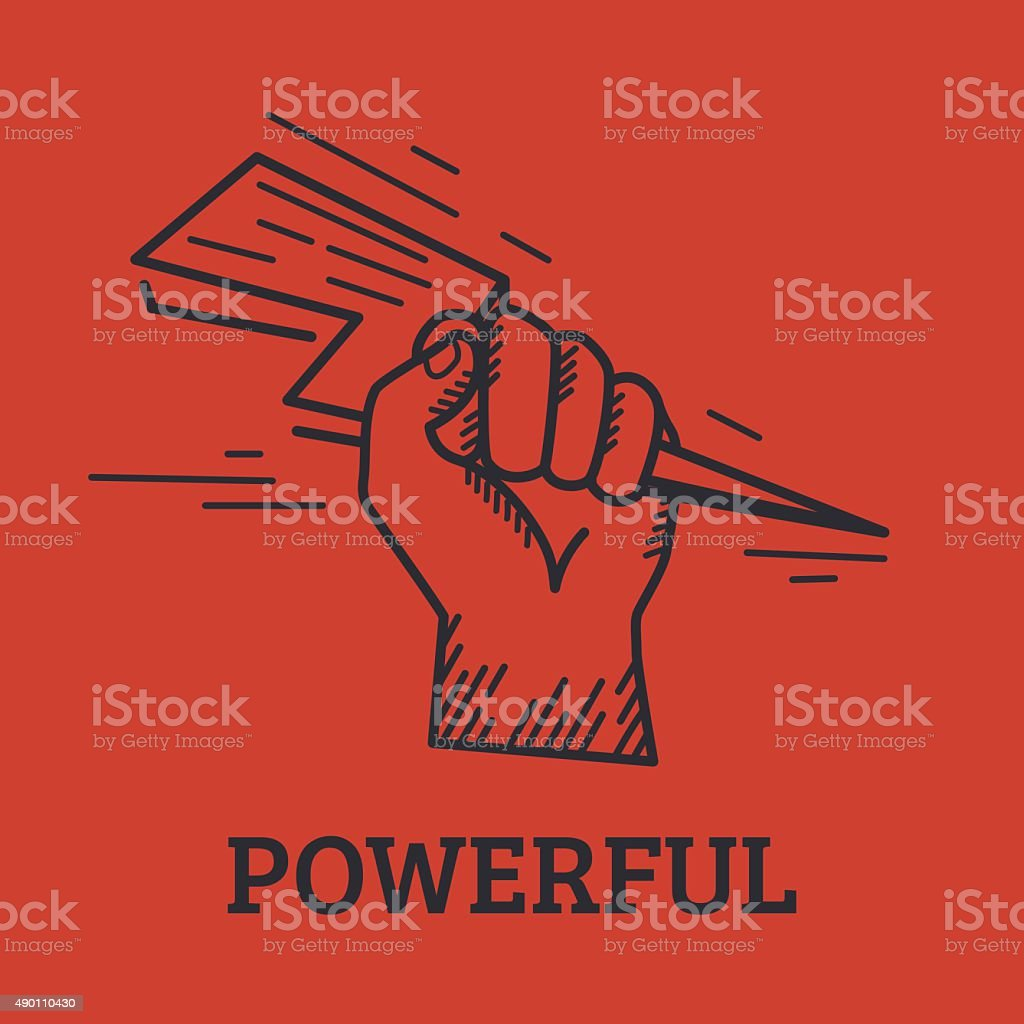Human hand holding lightening bolt vector art illustration