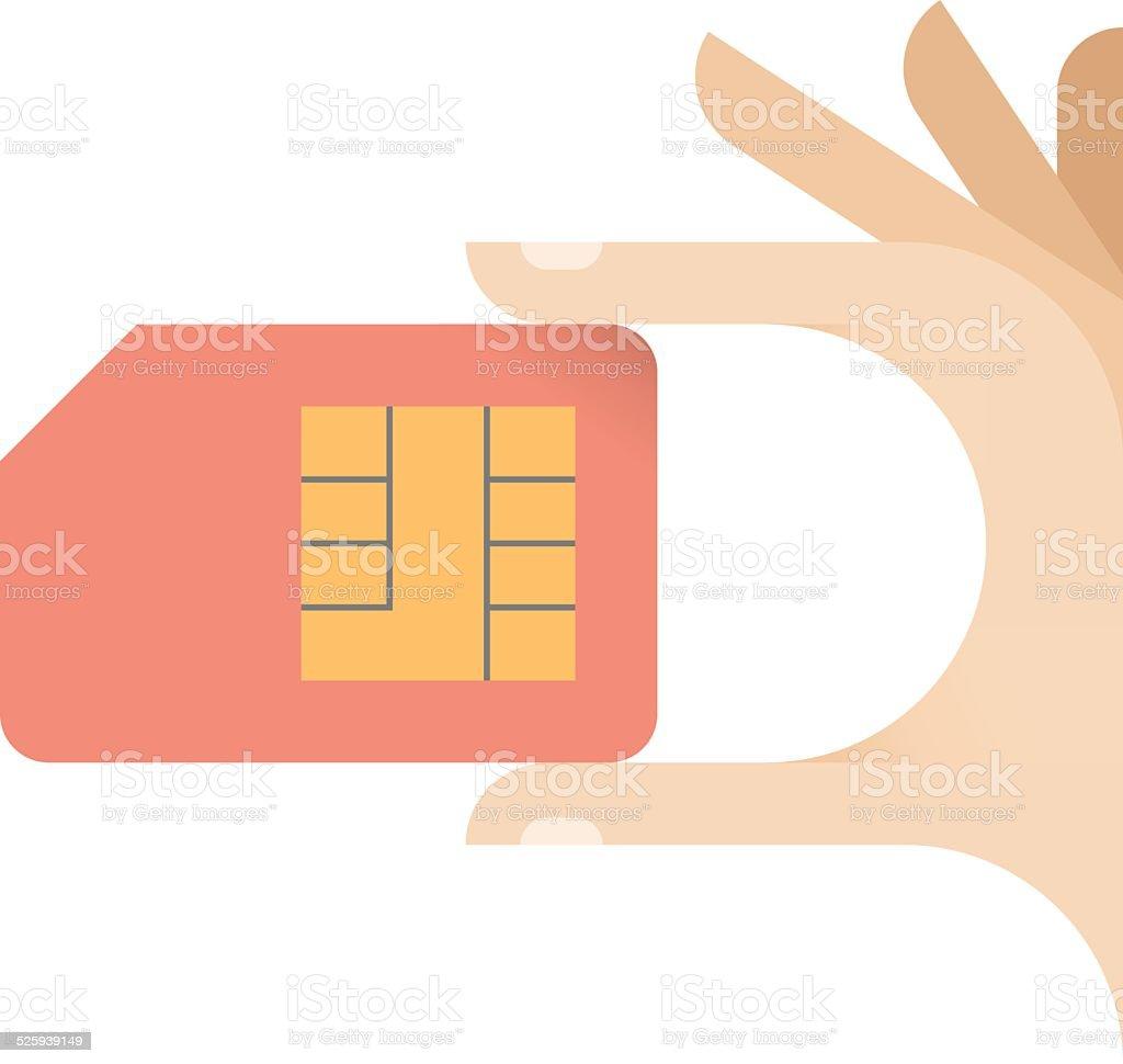 Human hand holding mobile phone sim card - communication concept vector art illustration