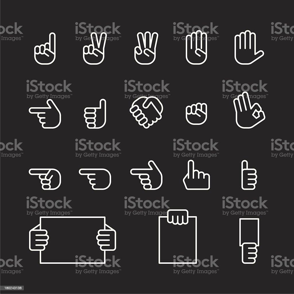 human hand icons set vector art illustration