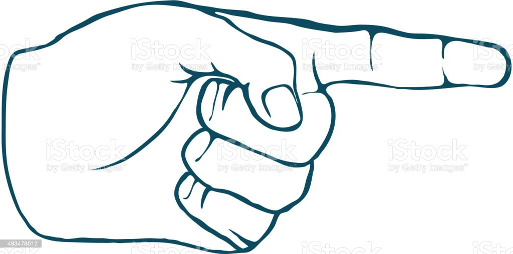 Human Hand Index Finger Hand Drawn Vector vector art illustration