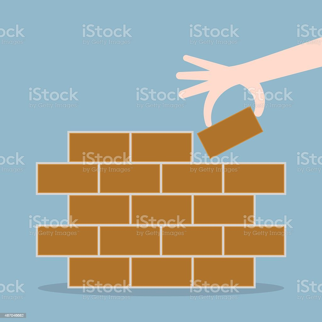 human hand lay bricks vector art illustration