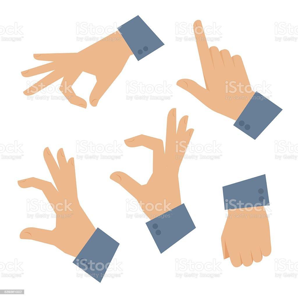 Human hand set on a white background. Vector flat illustration vector art illustration