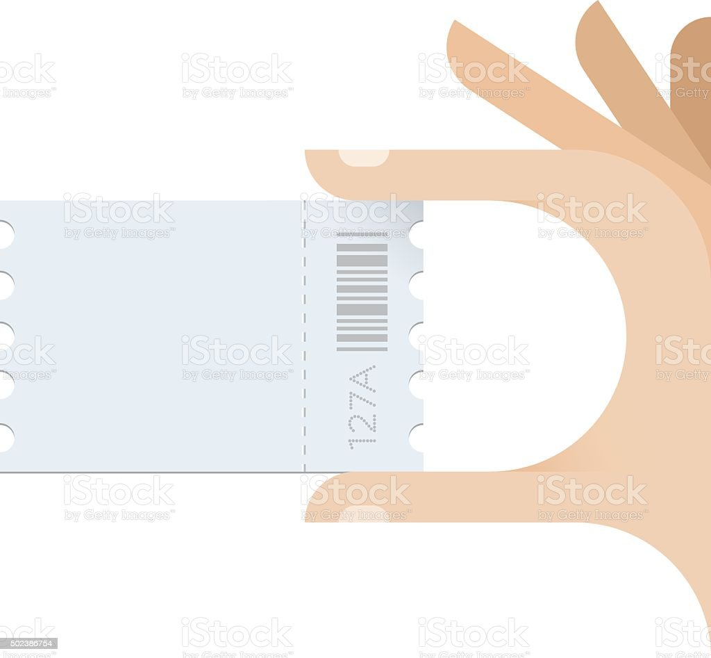 Human hand taking ticket with copy space for your text. vector art illustration