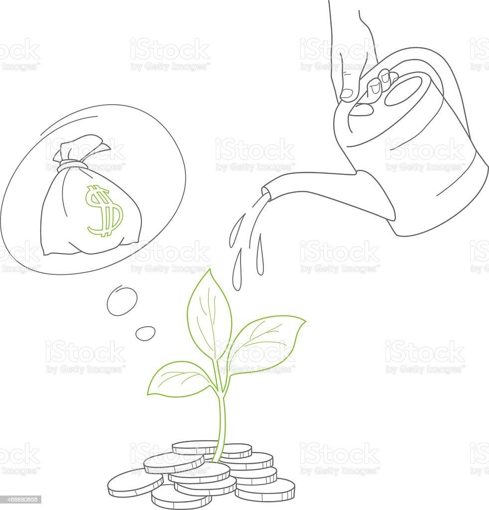 Mão humana dar dinheiro moedas de árvore com pode vetor e ilustração royalty-free royalty-free