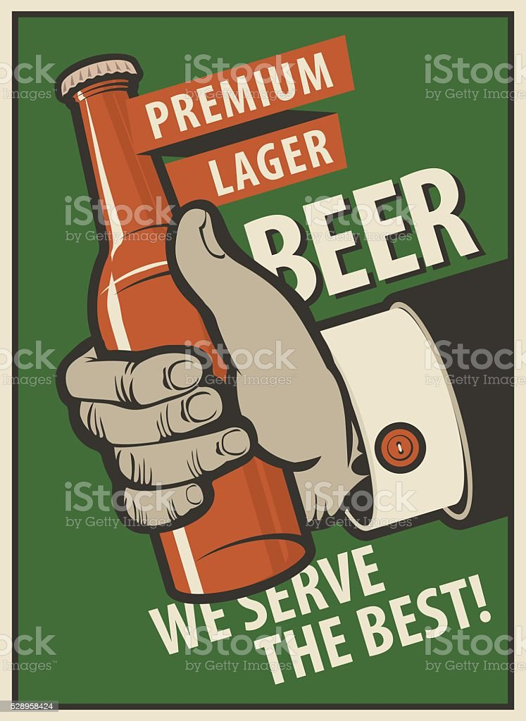 human hand with a bottle of beer vector art illustration