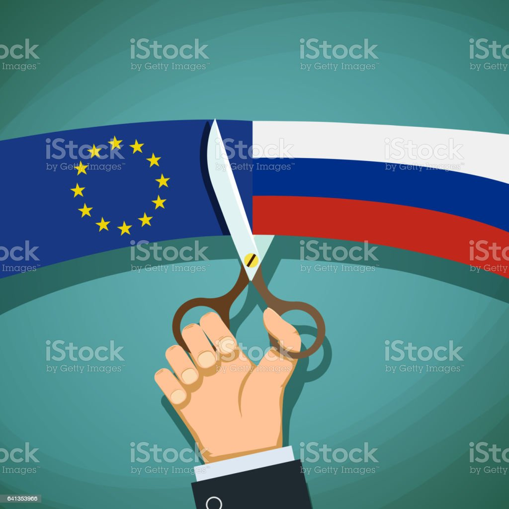 Human hand with scissors cuts the flag of Russian and the Europe vector art illustration