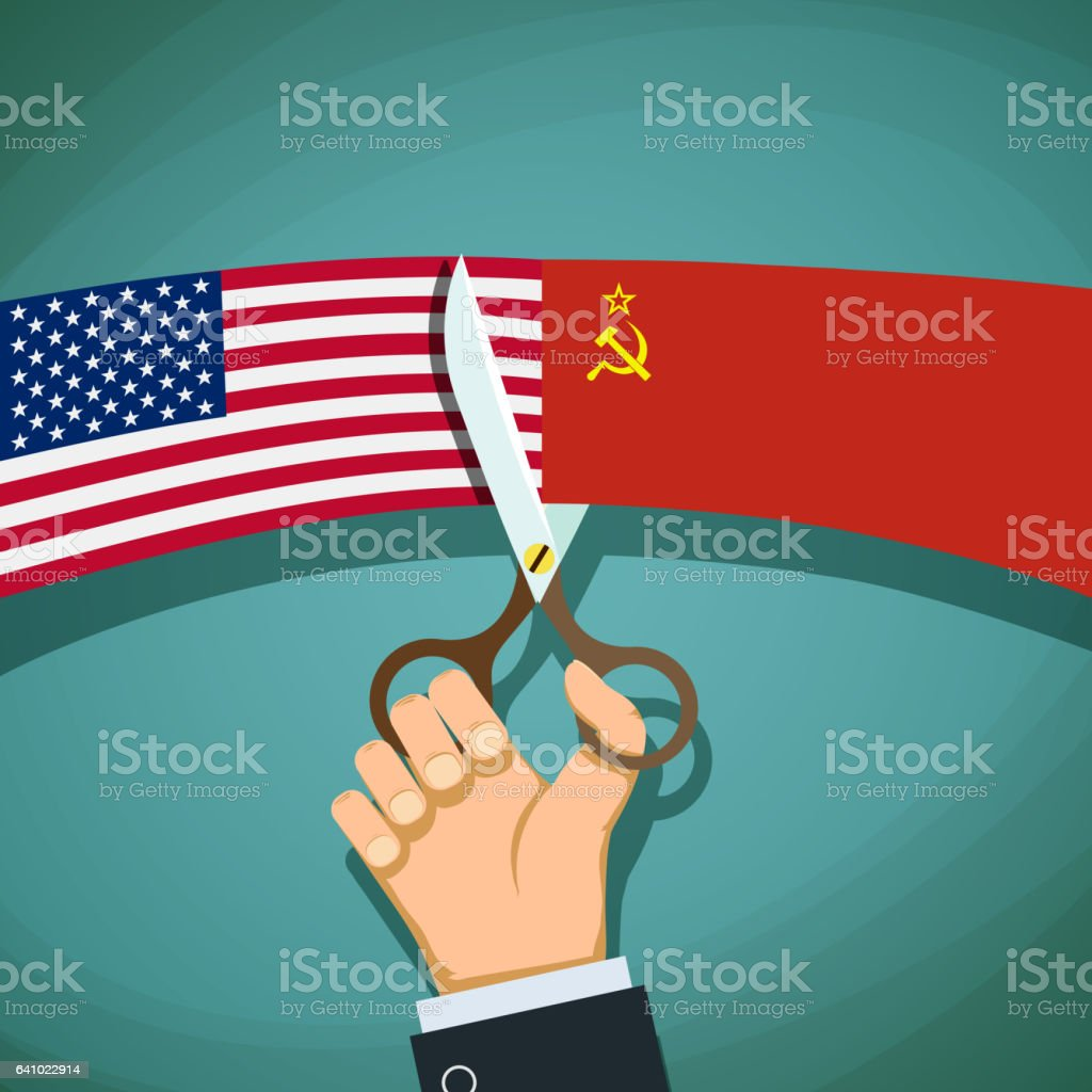 Human hand with scissors cuts the USA flag and the USSR. vector art illustration