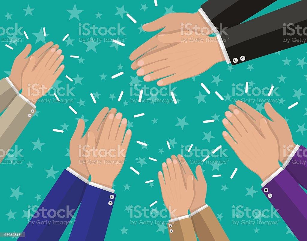 Human hands clapping applaud vector art illustration