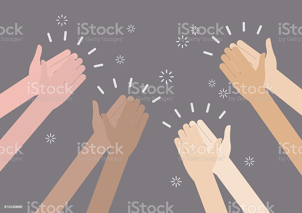 Human hands clapping ovation vector art illustration