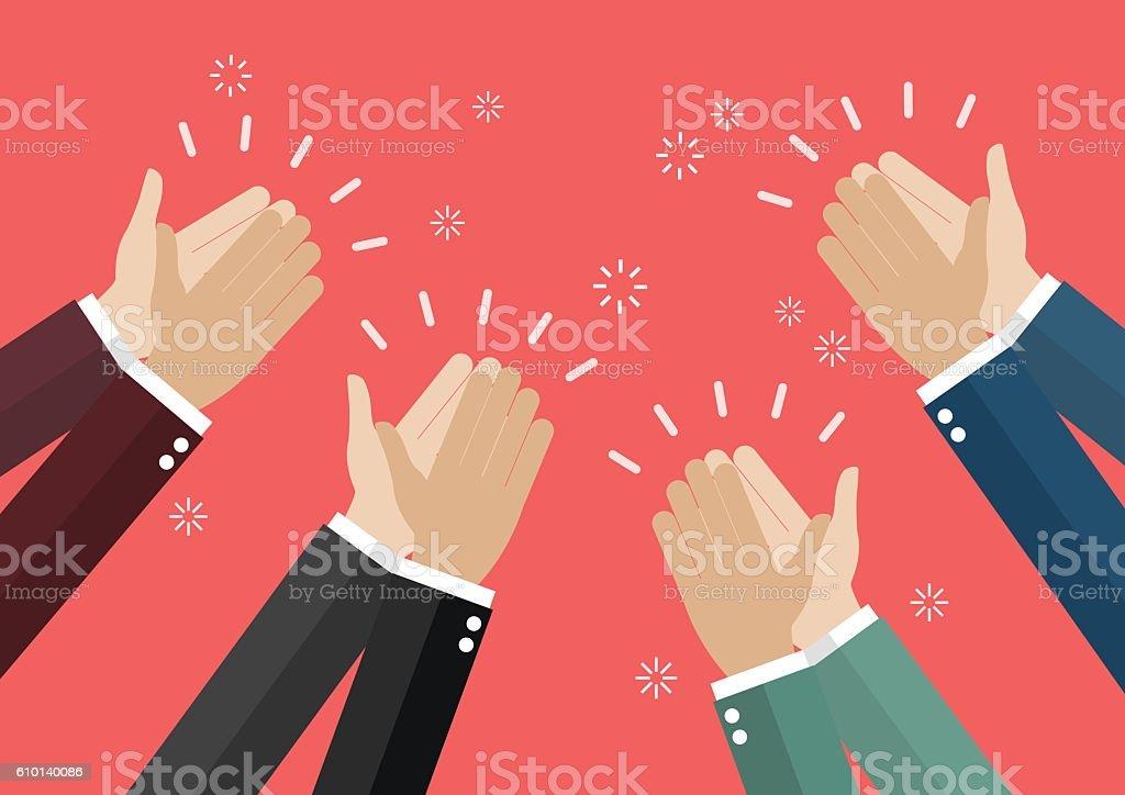 Human hands clapping vector art illustration