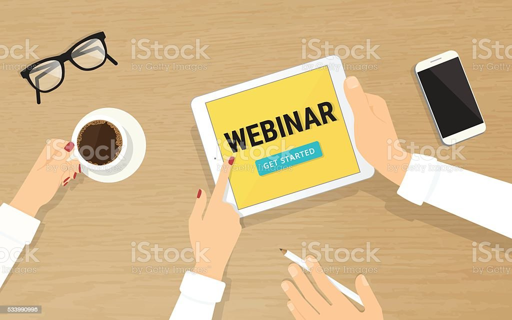 Human hands hold a tablet pc with webinar invitation on vector art illustration