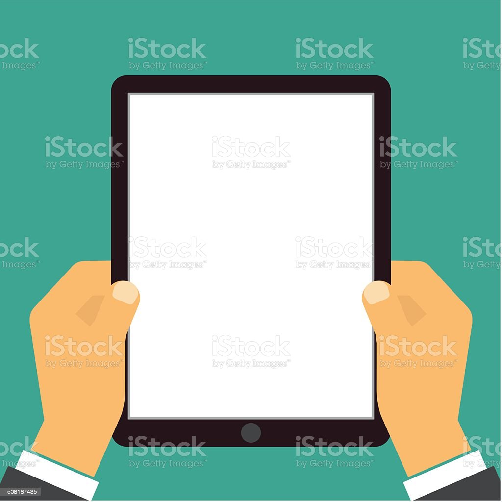 Human hands holding tablet computer vector art illustration