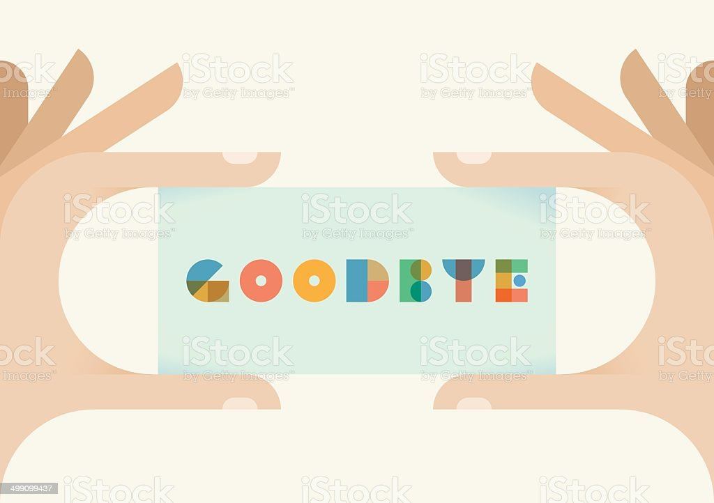 Human hands holding vintage card with Goodbye text vector art illustration