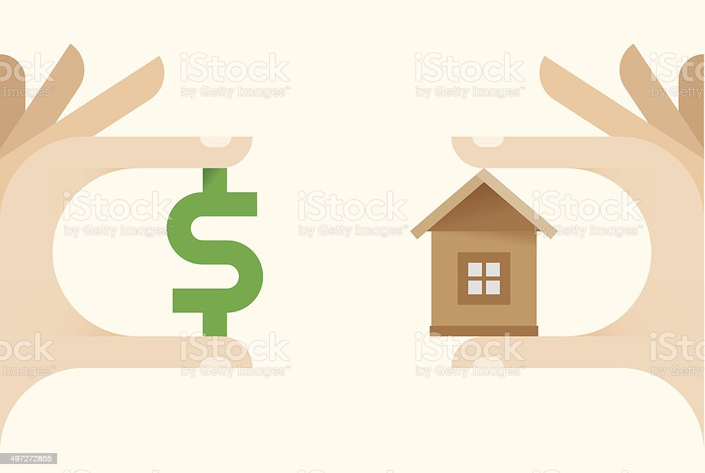 Human hands making real estate deal with house and money vector art illustration