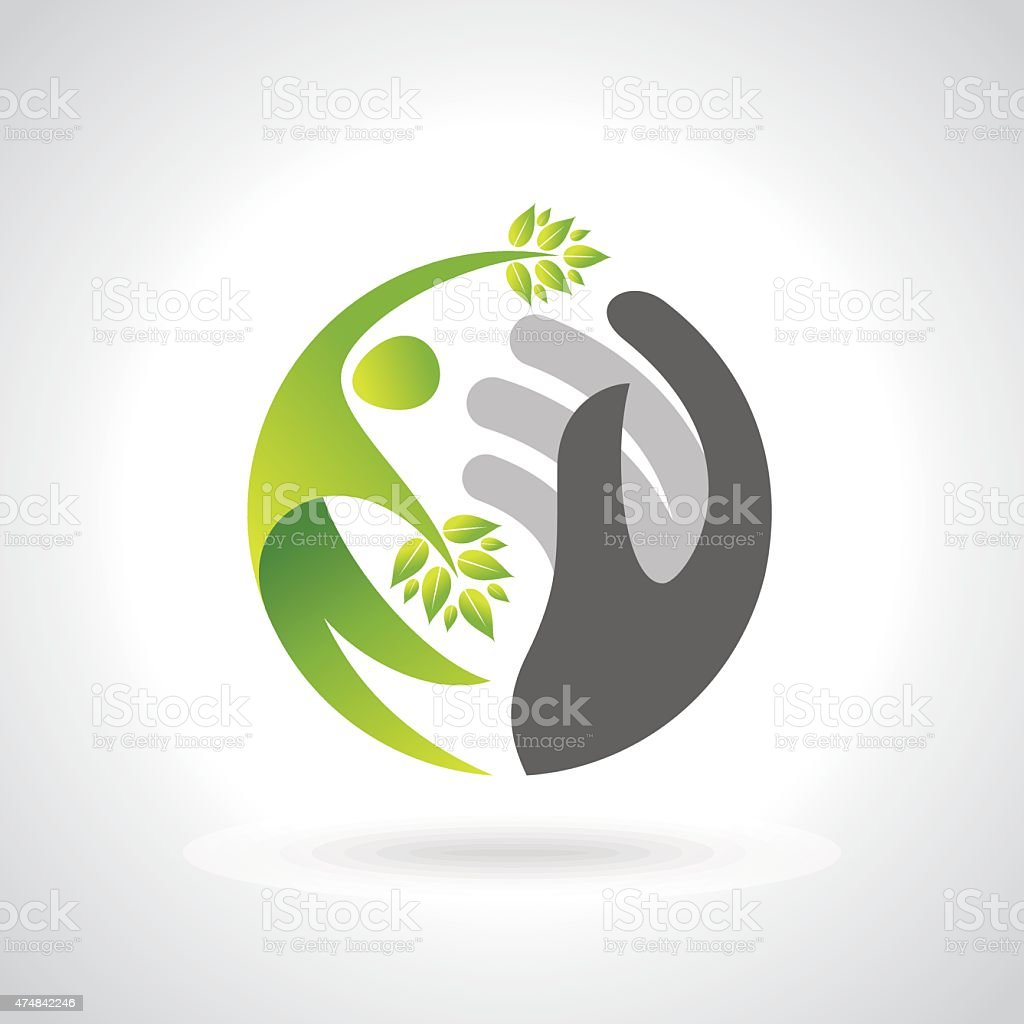 Human hands protecting green leaves, save earth concept. vector art illustration