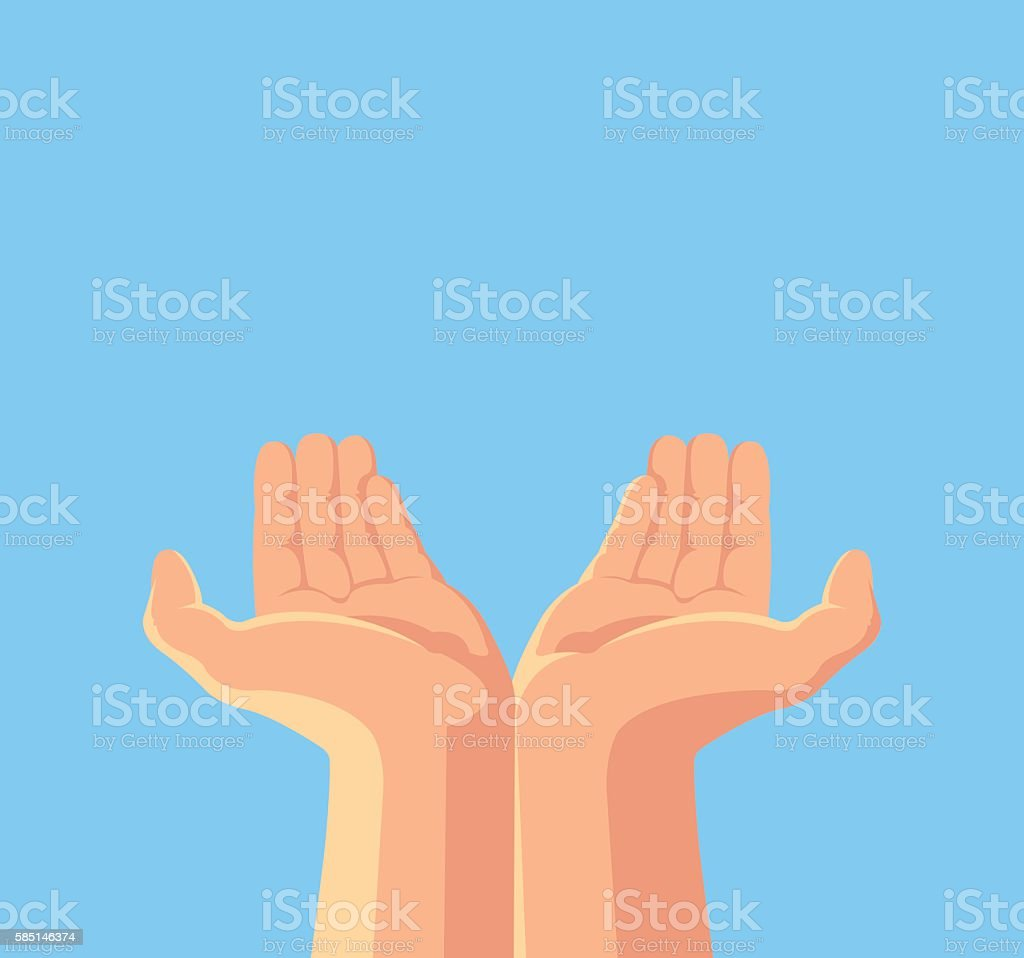 Human hands. Vector flat cartoon illustration vector art illustration