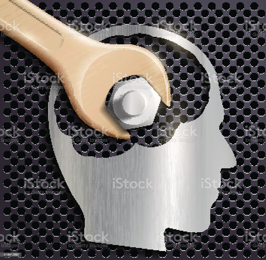 human head and a wrench with a nut vector art illustration