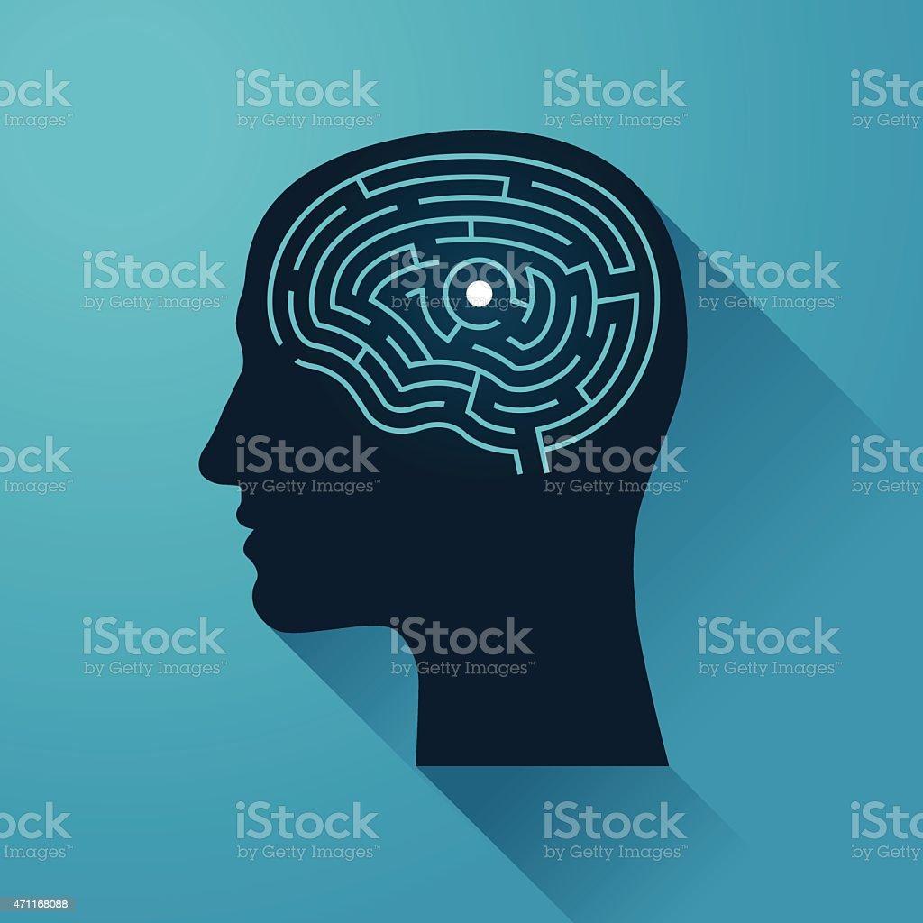 Human head and Brain Maze vector art illustration