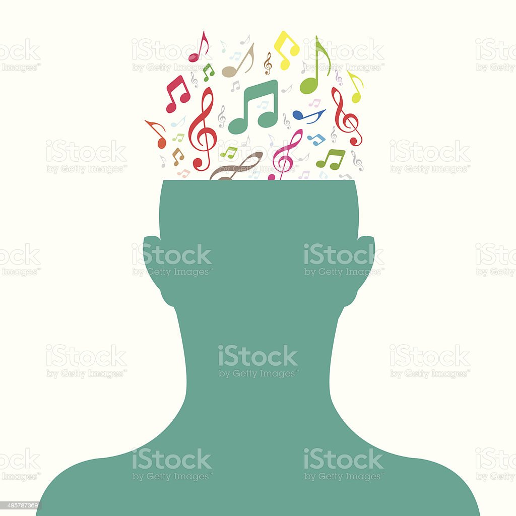 Human Head and music note vector art illustration