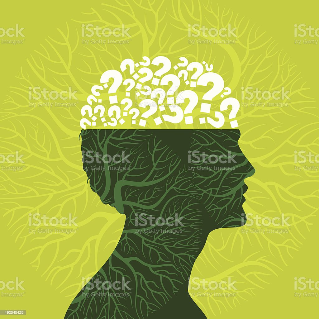 Human head and question mark vector art illustration
