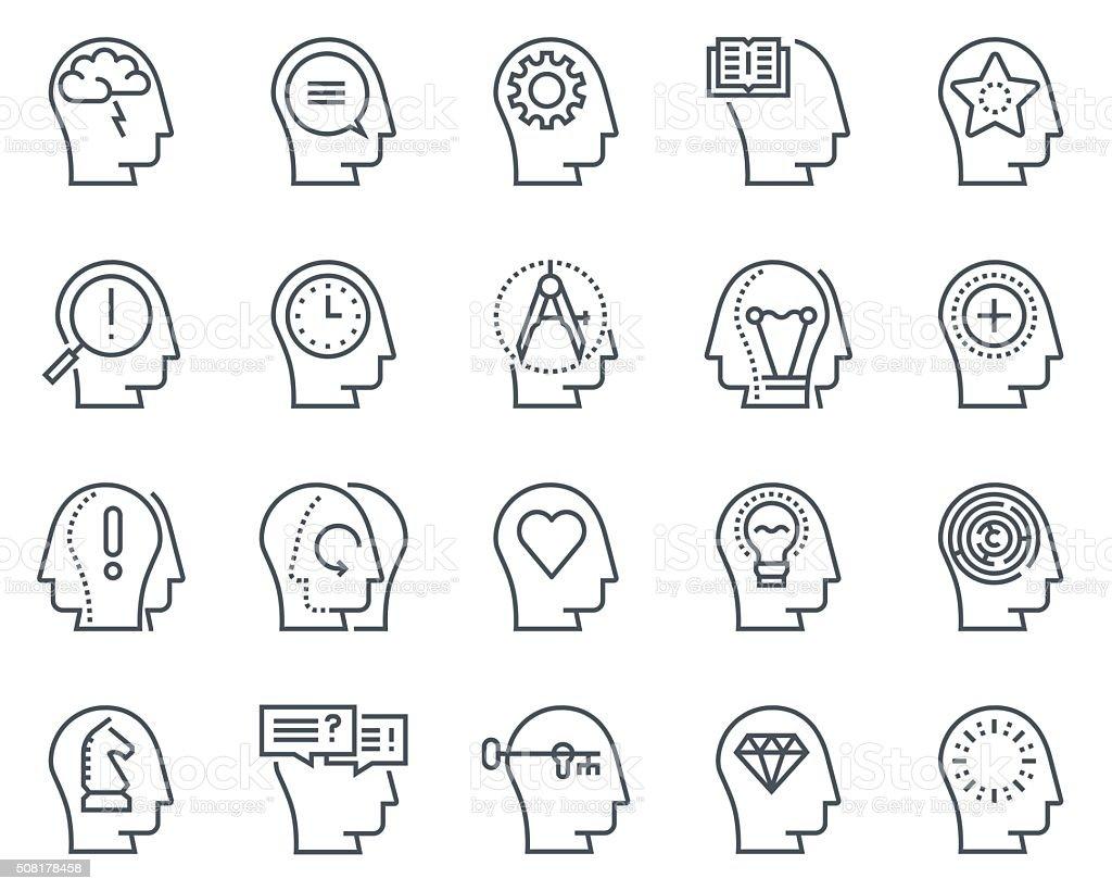 Human head, business and motivation icon set vector art illustration