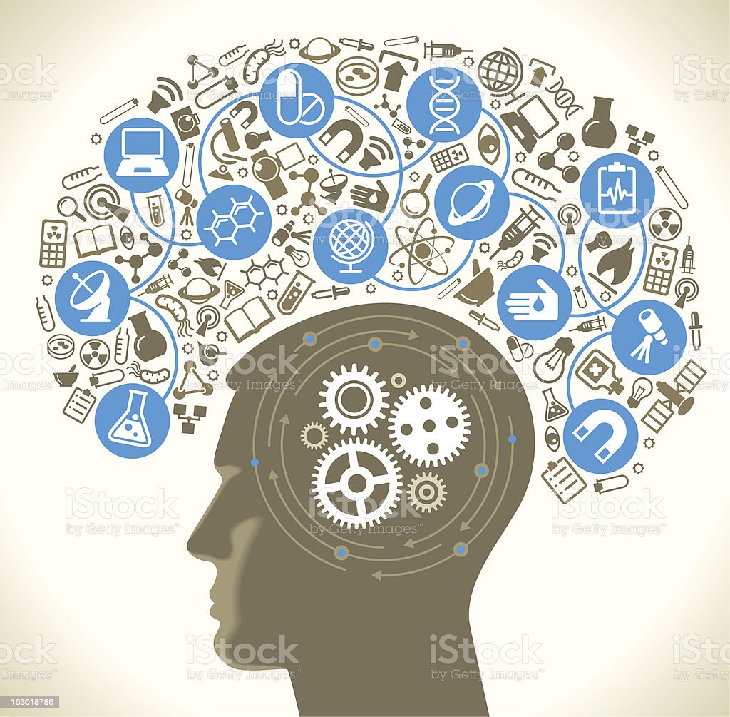 human head icons of science and gears vector art illustration