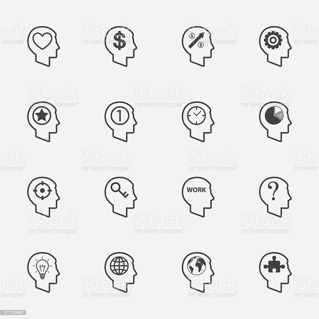human head sign and sumbol. icons set.vector. vector art illustration