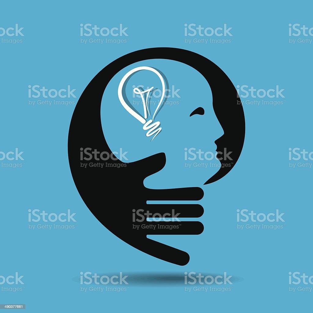 human head thinking a new idea vector art illustration