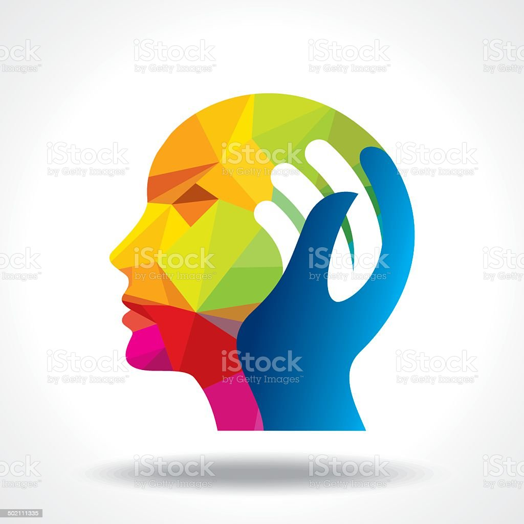 human head thinking a new idea vector art illustration