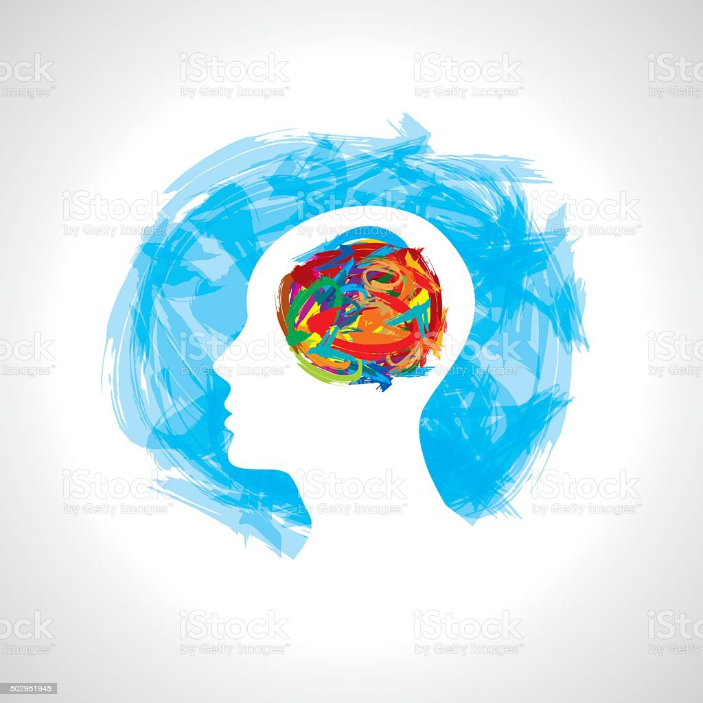 human head thinking. making from brush stocks vector art illustration