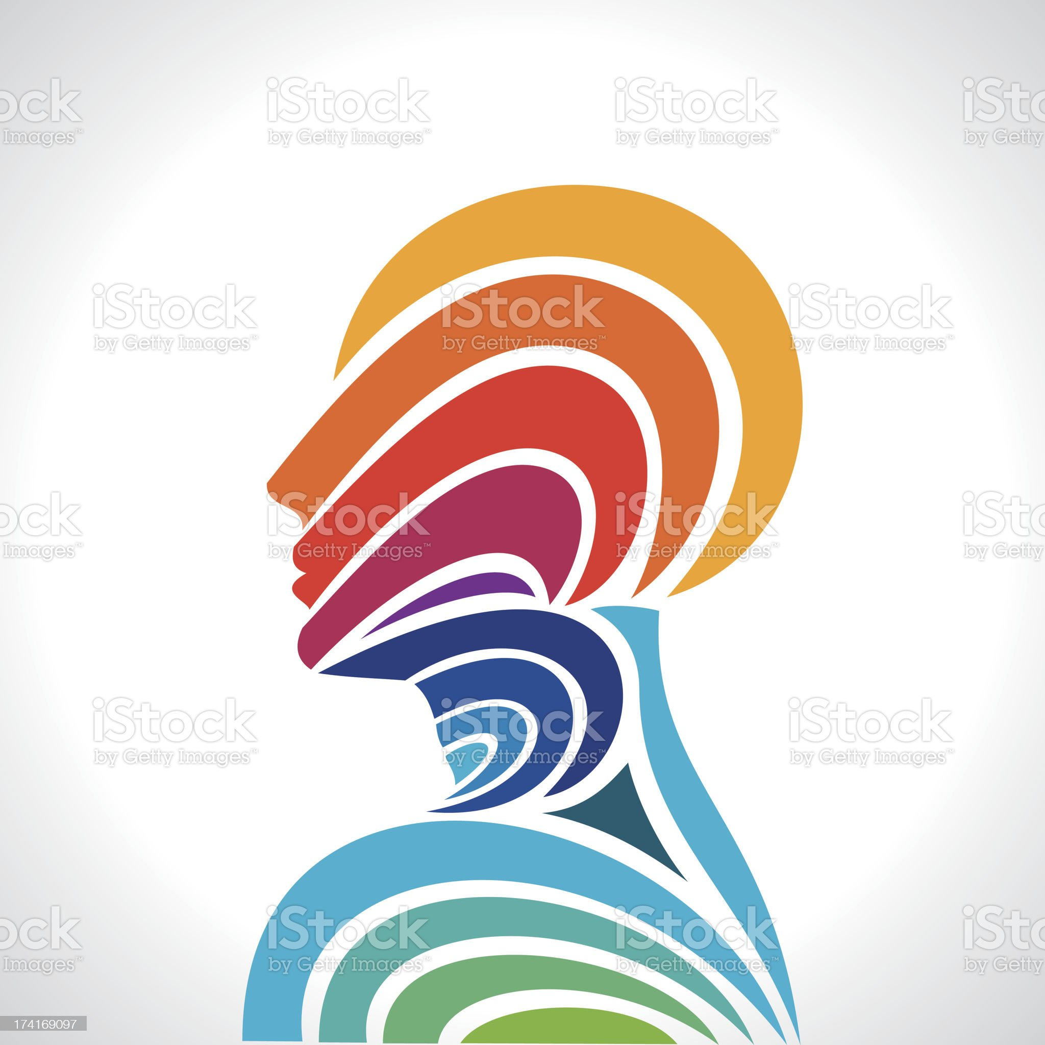 human head thinking  making from multicolor royalty-free stock vector art