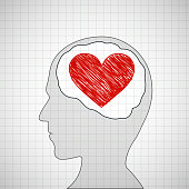 Human head with a red heart inside.