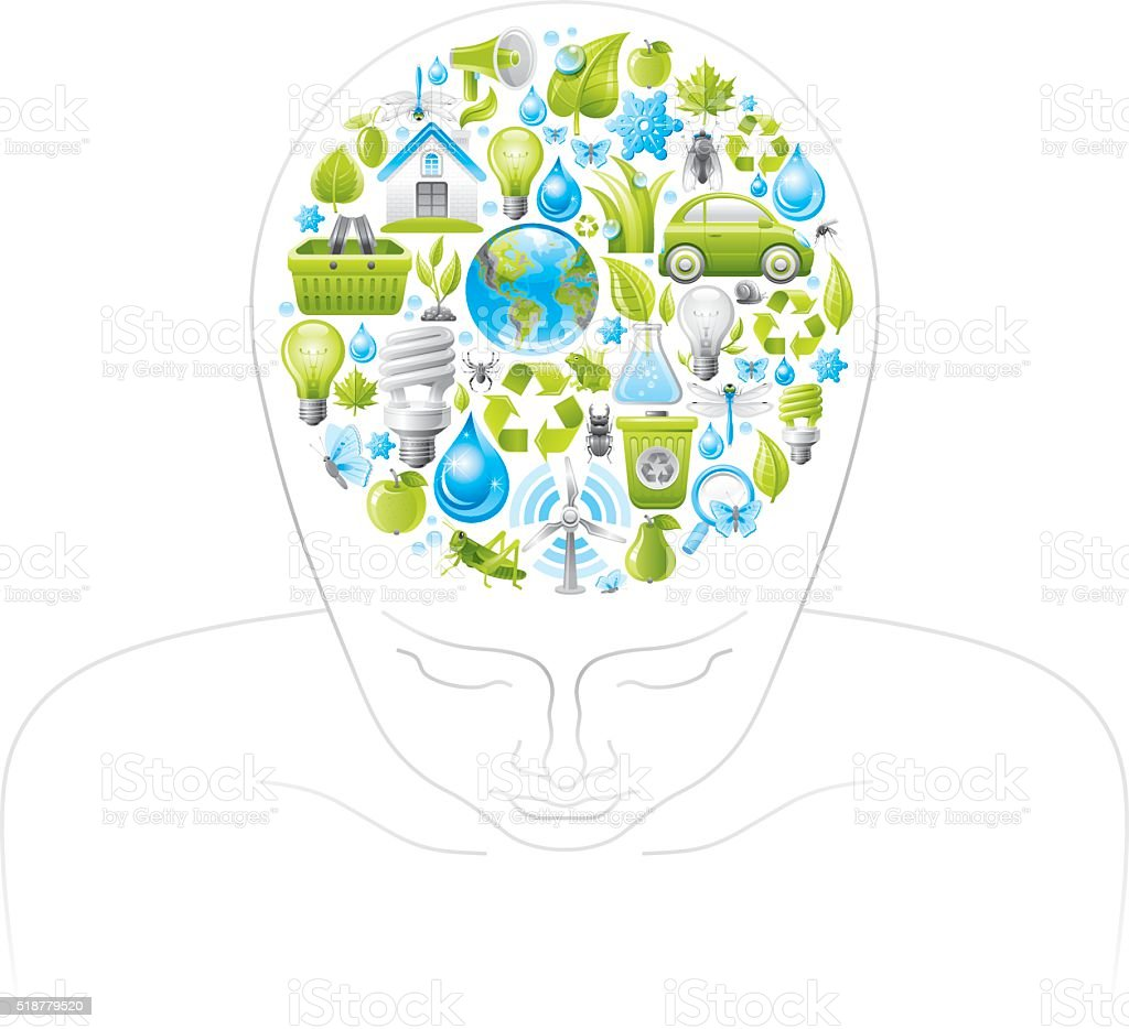 Human head with ecological symbols in brain vector art illustration