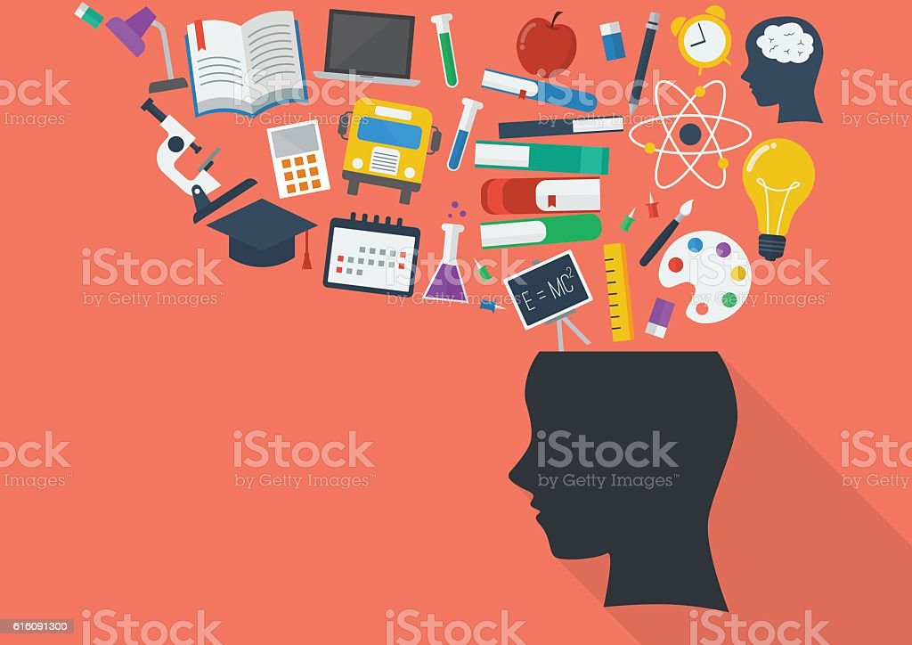 Human head with education icons vector art illustration