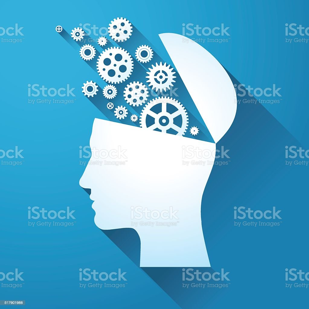 Human head with gears. Brain concept. vector art illustration