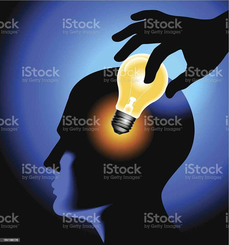 human head with lamp royalty-free stock vector art