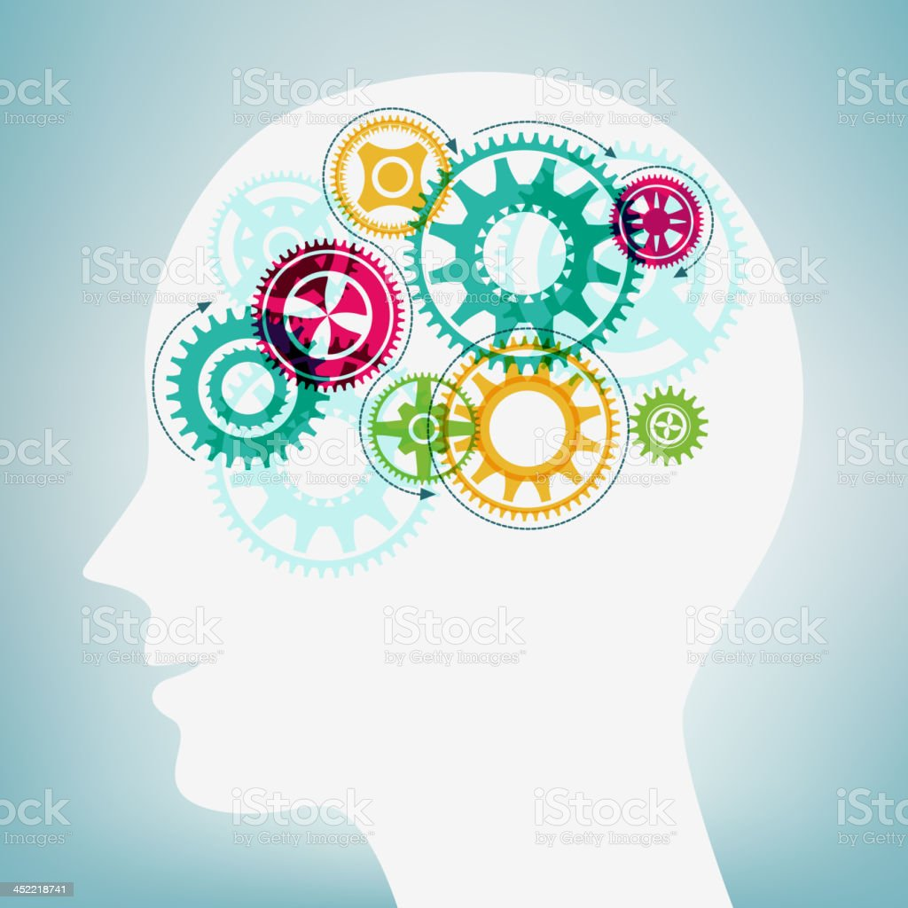 Human Head with Moving Gears royalty-free stock vector art