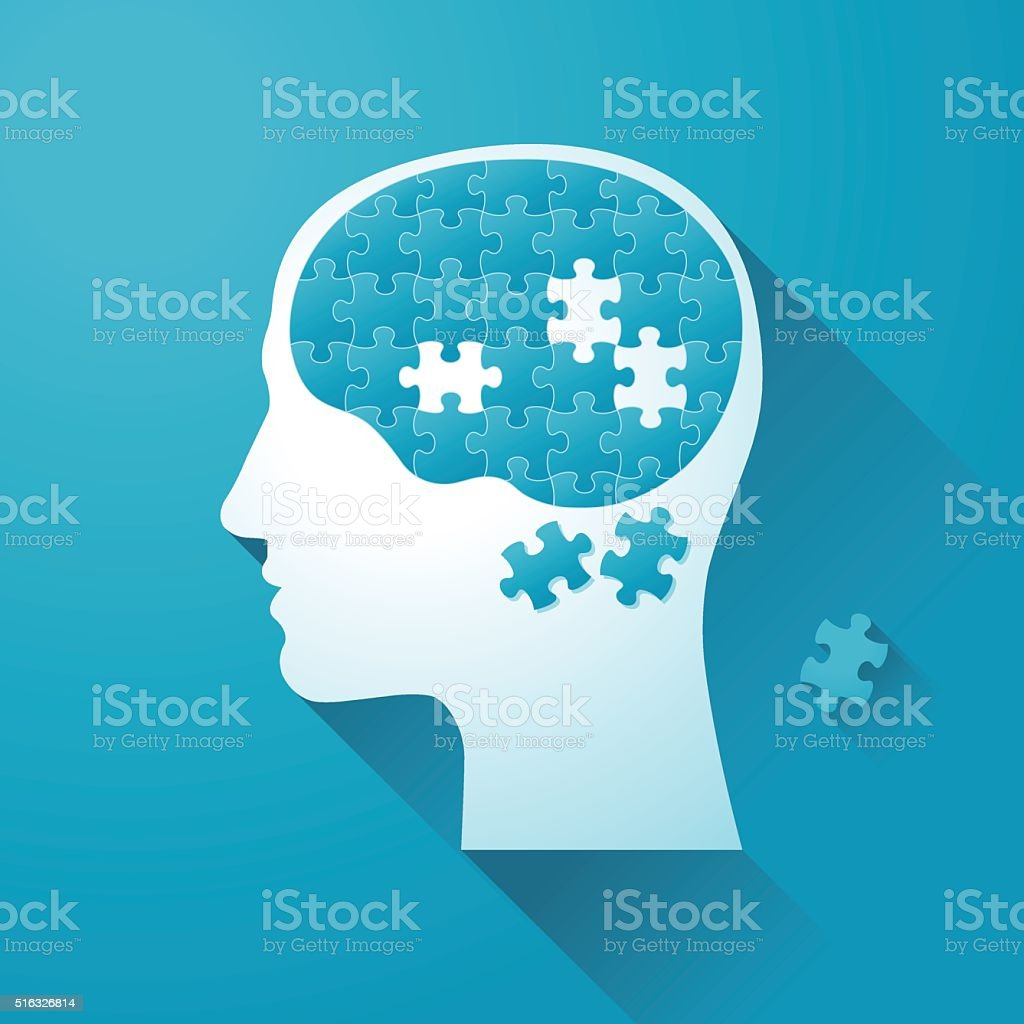 Human head with Puzzle Brain vector art illustration