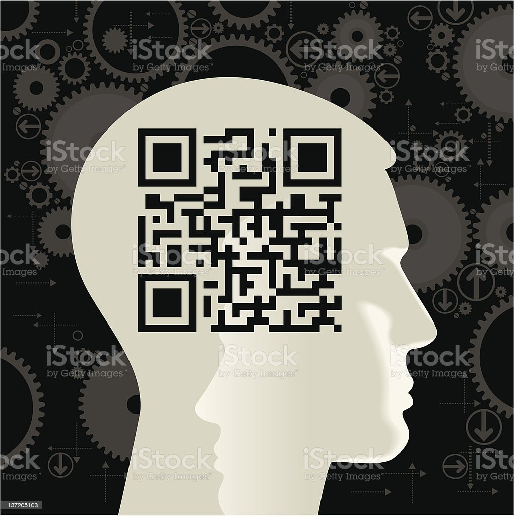 human head with the QR-Code royalty-free stock vector art