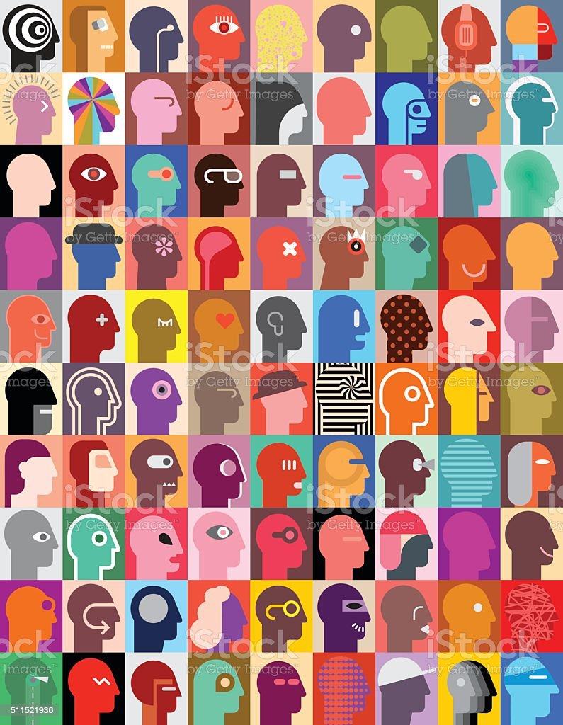 Human Heads vector art illustration