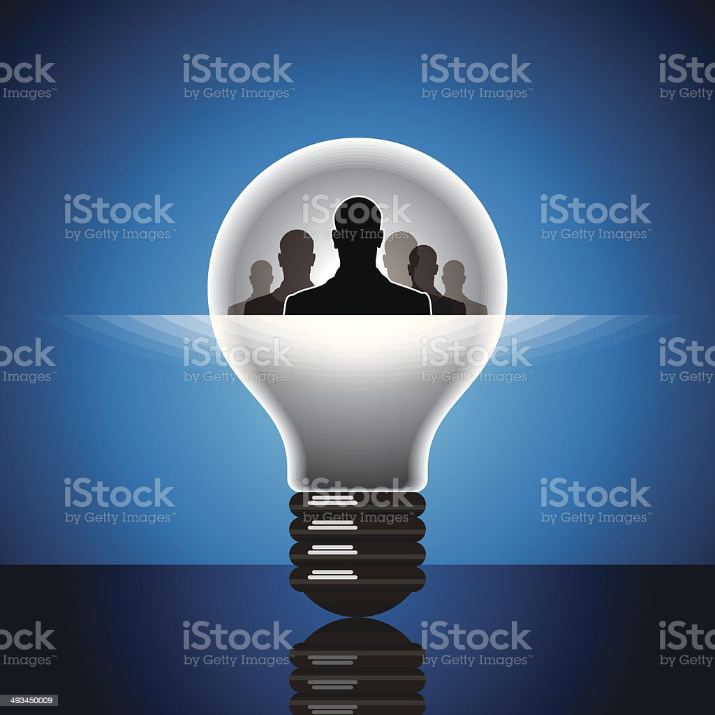 Human heads with Bulb symbol Business concepts royalty-free stock vector art