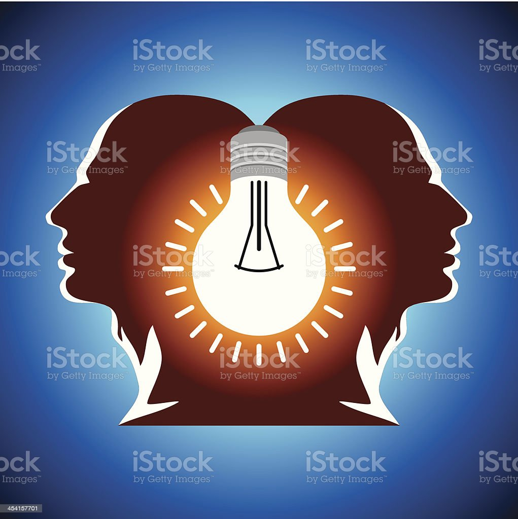 Human heads with Bulb symbol royalty-free stock vector art
