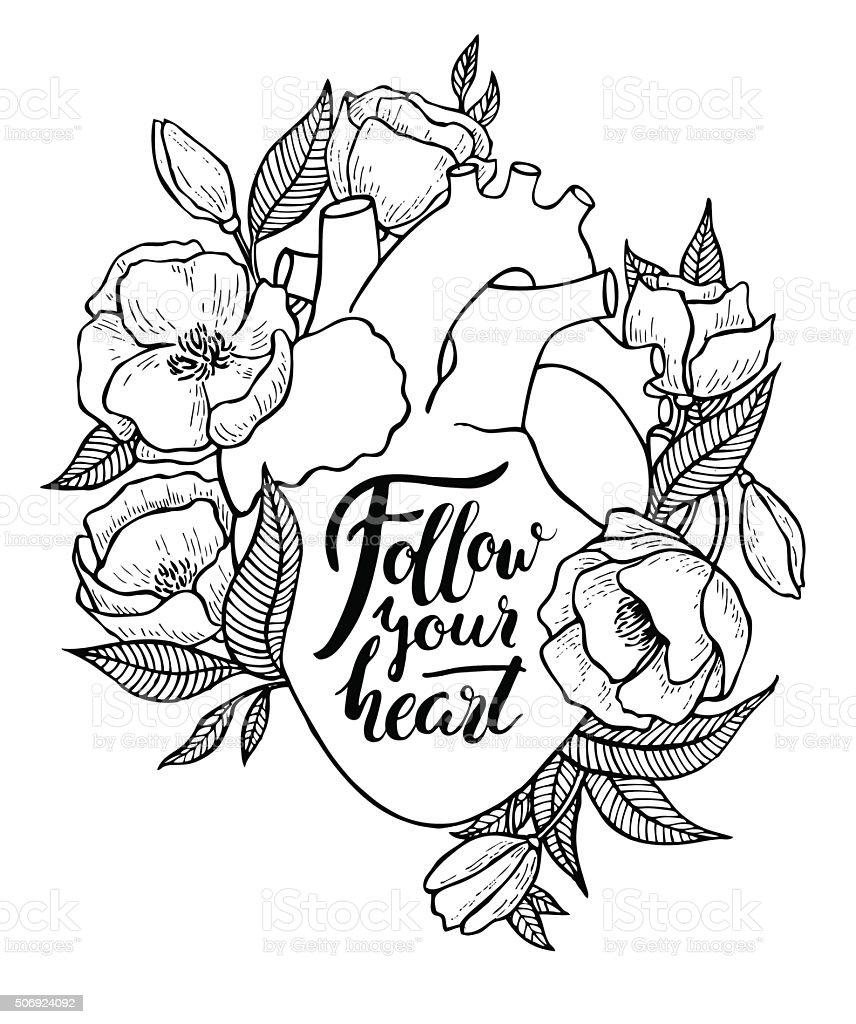 Human heart illustration with flowers. vector art illustration
