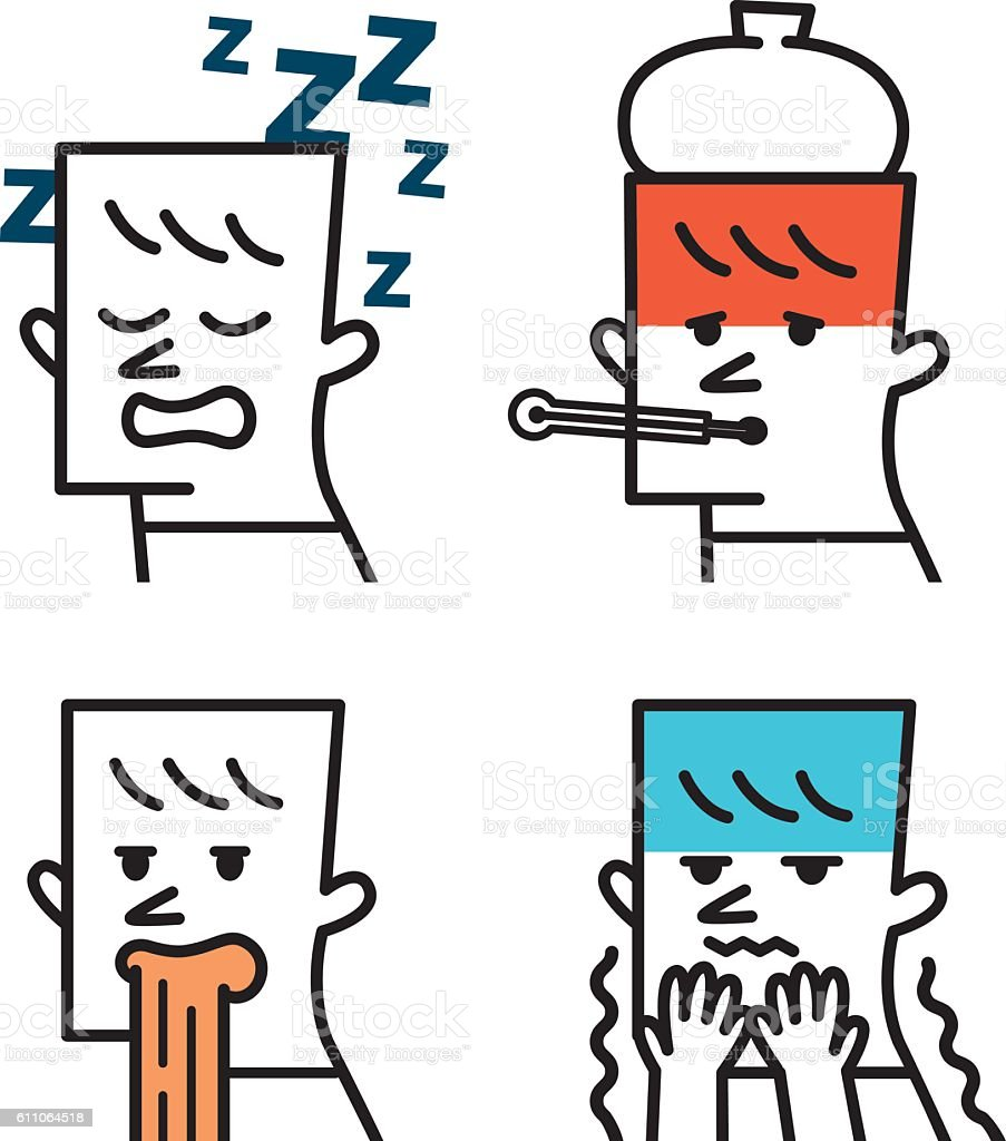 Human illness and diseases symptoms signs set. vector art illustration