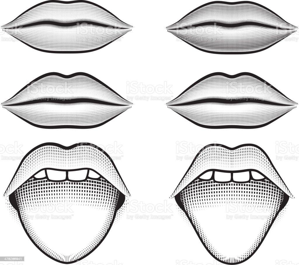 Human Lips and Tongue black & white vector icon set vector art illustration