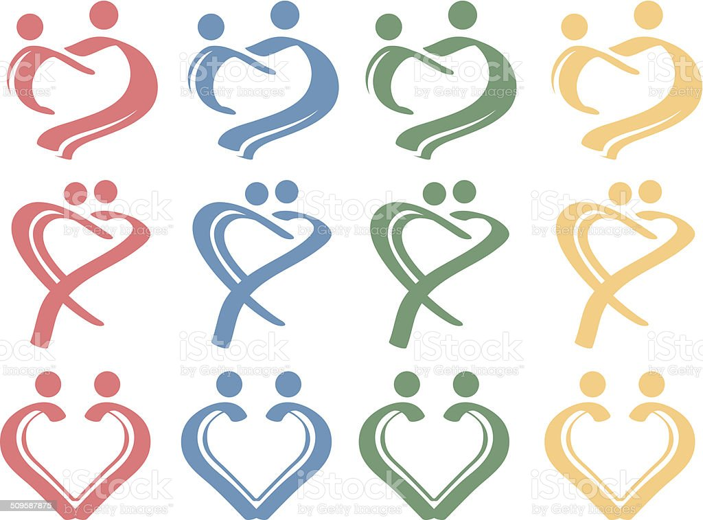 Human Love Relationship Conceptual Symbol Design Icon Set vector art illustration