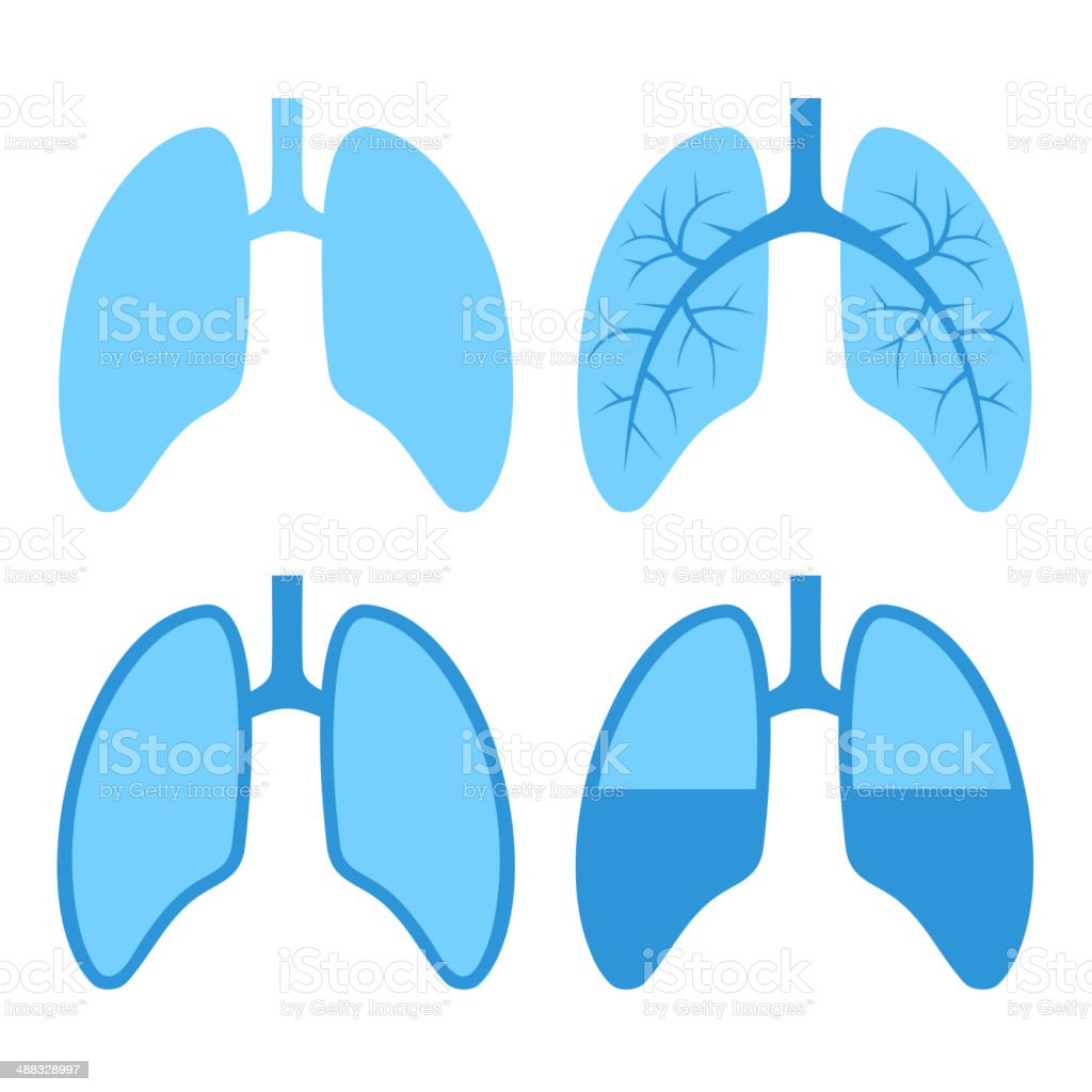 Human Lung Icons Set royalty-free stock vector art